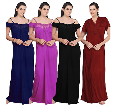 390d1816af WOMENS SATIN LACE LADIES LONG NIGHTDRESS NIGHTY CHEMISE LACE DETAILED 2 Pcs  Set