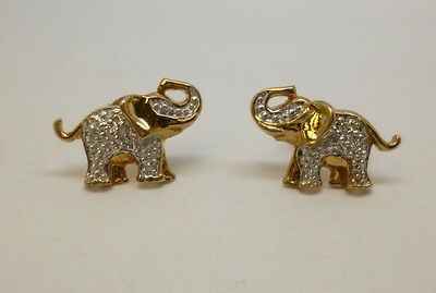 9ct yellow gold diamond elephant design earrings