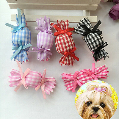 10pcs/lot Pet dogs hair clip puppy grooming candy grid hairpins bows accessories