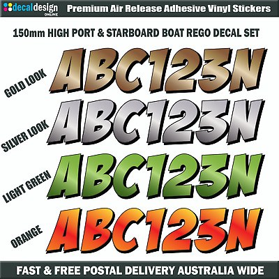 Boat Rego Number Decals 150mm Stickers for NSW Boat Registation FULL COLOUR
