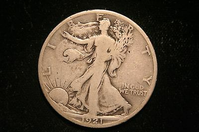 1921 S Walking Liberty Silver Half Dollar, VERY GOOD, Better Date!