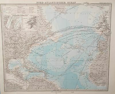 Map of the Atlantic Ocean & Eastern 1880. Steamship & Telegraph routes. Stieler.