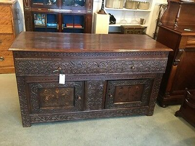 Solid Hand Carved Period Oak Sideboard
