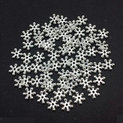 200pcs 8mm Silver Snowflake Daisy Spacer Beads Crafts Jewelry Findings