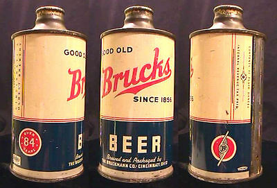 Brucks Beer - Late 1930's - 12Oz Irtp J Spout Cone Top Can - Cincinnati - Clean