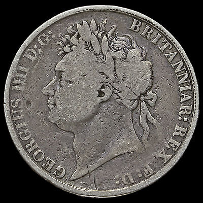 1821 George IV Milled Silver Secundo Crown, A/F #3