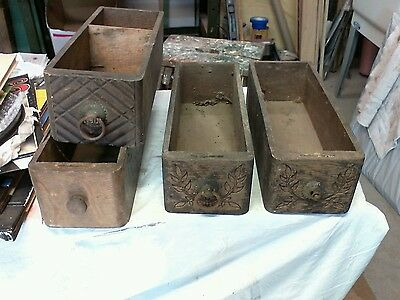 Lot 4 Antique Treadle sewing mashine drawers 2 Hand Carved