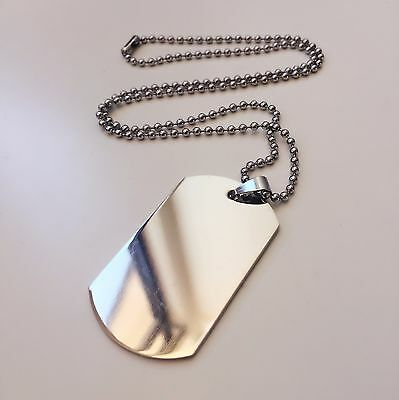SPECIAL! Stainless Steel Necklace Engravable Military Army Dog Tag & Chain