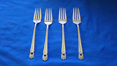 "1847 Rogers Bros. IS ""ETERNALLY YOURS"" 4 Silver Plate Salad Forks"
