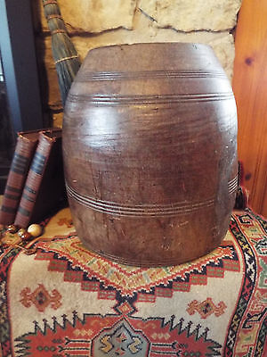 Antique Primitive Solid Turned Wood Large Bucket- Gorgeous
