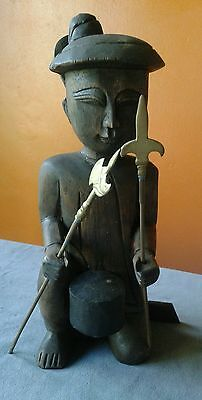 ASIAN or INDONESIAN wood sculpture - man w/spears - hunter, tribal - vintage 12""
