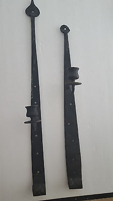 Antique Hand Forged Heavy Iron Strap Door Hinges or Wall  Decor