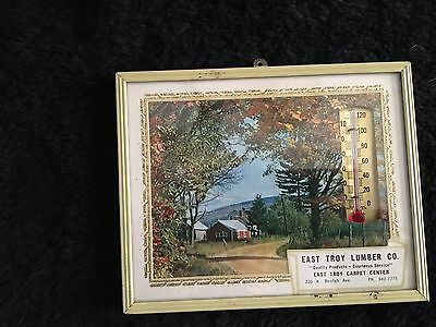 Vintage Pastural Farm Scene Thermometer Advertising Picture