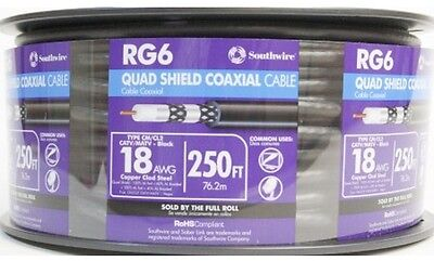 250-ft 18 Awg Rg6-Quad Sunlight-resistant Shield Black Coax Cable Spool