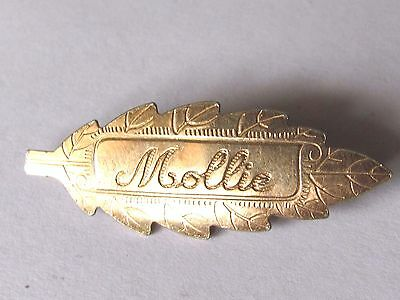 Antique Leave Brooch Pin - Mollie- Gold Front J.s. Maker
