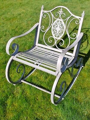 Stunning Shabby Chic Victorian Style Rocking Chair in Rustic Grey Finish  2440