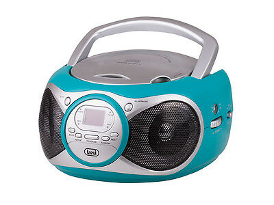 Trevi Portable Stereo Boombox with CD Player FM Radio AUX-IN for MP3 Turquoise