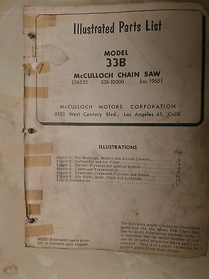 McCULLOCH CHAIN SAW MODEL 33B ILLISTRATED PARST LIST   LOT OF 2
