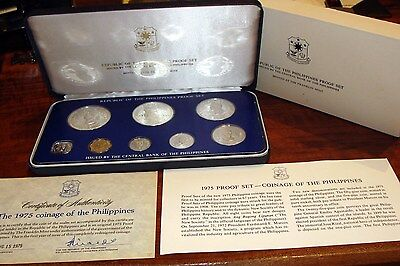 1975 PHILIPPINES - OFFICIAL PROOF COIN SET (8) with 2 SILVER CROWNS - BEAUTY!