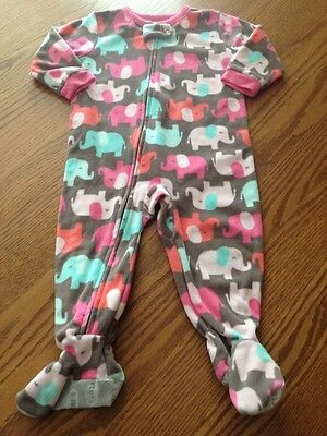 Carter's 12 Months Baby Girl Pink Elephant Fleece Footed Pajamas
