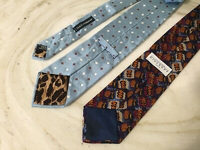 Dolce &Gabanna Mens Tie 100% Silk Blue With Brown & White Geometric Italy Luxury