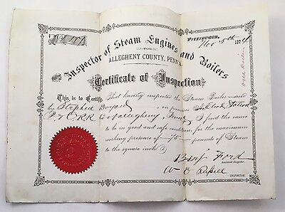 Antique 19thc Steam Engine Boiler Inspection Certificate Allegheny Co PA
