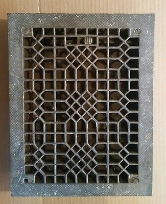 Working Vintage Cast Iron Heat Floor Register Grate Vent Victorian Louvers 9x12""