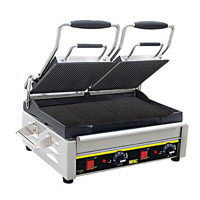 """Buffalo Ge041 Double Panini Grill With Ribbed Plates 17"""" X 9.5"""" 240 Volt"""