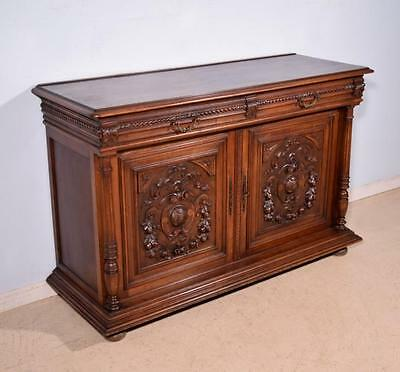 *Antique French Highly Carved Henri II Sideboard/Buffet in Walnut