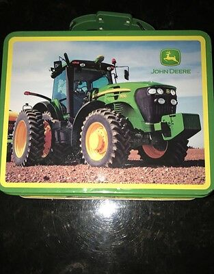 John Deere Tin Tote/Carry All Lunch Box One Side Smooth, One Side Embossed