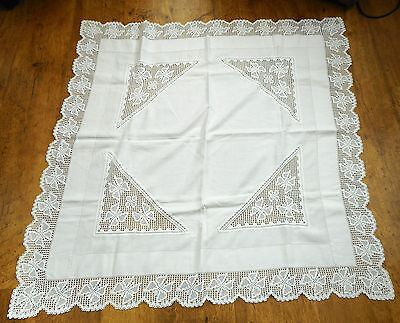 Vintage tablecloth with butterfly hand made crochet lace border & inserts