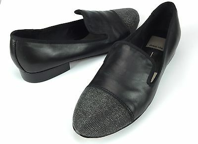 Dolce Vita Coco Black Leather Cap Toe Loafers Heel Womens Shoes Size 8.5 M