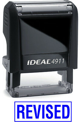 REVISED text on IDEAL 4911 Self-inking Rubber Stamp with BLUE INK