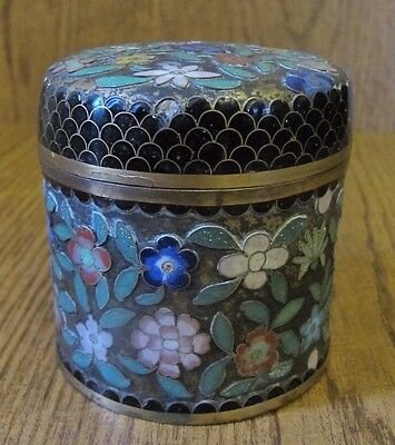 Antique Chinese Cloisonné w/ Black Enamel Lid Flower Jar  Box EARLY 1900's?