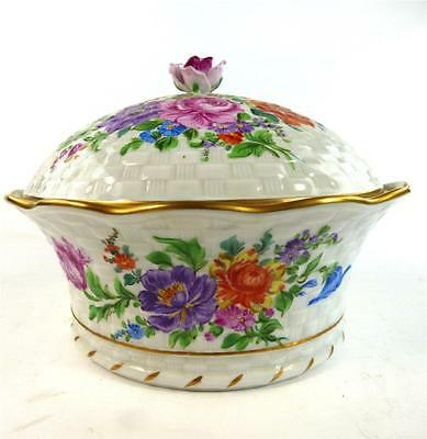 HAND PAINTED GERMAN DRESDEN PORCELAIN COVERED TUREEN FLOWERS GILT 17cm 6 3/4""