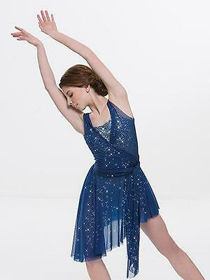 Dance Costume Small Adult Blue Gold Lyrical Contemporary GlitterSolo Competition