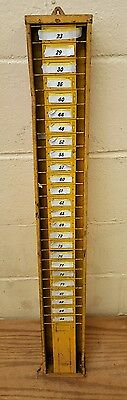 Vintage Yellow Time Card Holder Wrack - Wall Mountable with Foor Plate