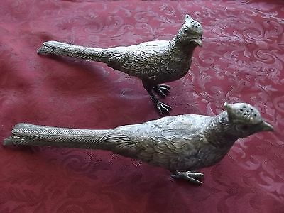 Vintage Silverplate Metal Pewter Pheasants Figurines Salt & Pepper Statues
