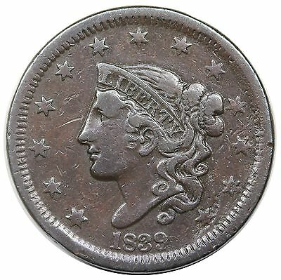 1839 Coronet Head Large Cent, Head of '38, N-2, VF
