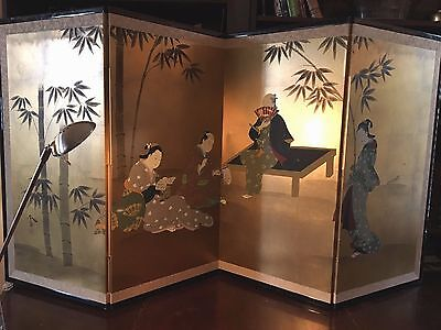 Vintage Japan GUMPS Asian Screen Byobu  4-Panel Folding Gold Leaf Watercolor