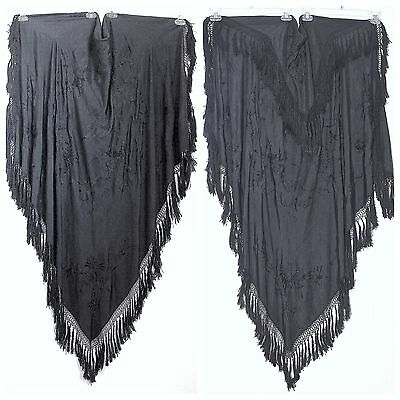 Antique Art Deco Hand Embroidered Black Silk Canton Piano Shawl Bird Floral