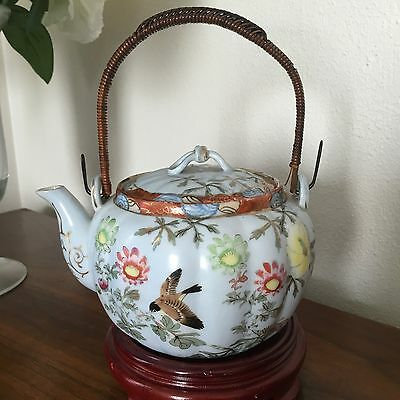 Antique Vintage ?Meiji Japanese Porcelain Wrapped Wire Handle Teapot Signed