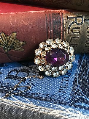 Vintage Edwardian Purple Crystal Brooch