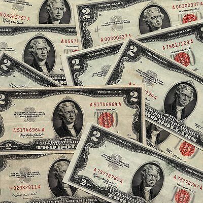 Lot of (10) Nice Red Seal 1953 and 1963 $2 Bills Including One Star