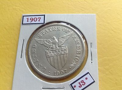 Philippines Coin 1907 One 1 Peso Silver Us Administration Era