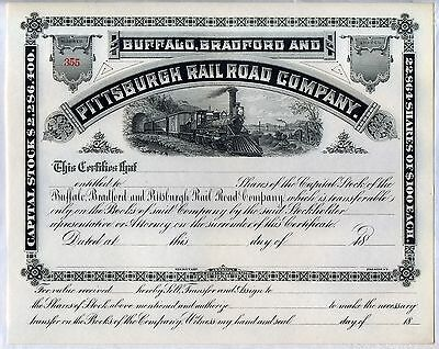 Buffalo Bradford & Pittsburgh Railroad Company Stock Certificate Pennsylvania