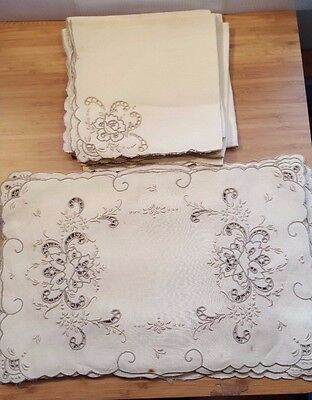 LOT 16 Vintage Antique Cutwork Linen Placemats and Napkins (8 each) from 1920s