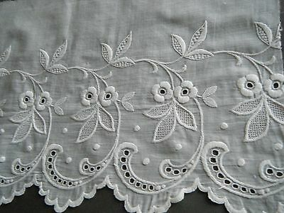 19C Antique  French  WHITEWORK HAND  EMBRIDERED  WIDE TRIM GREAT DESIGN