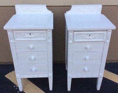 Pair Of Antique White Painted English Style Tall Night Tables