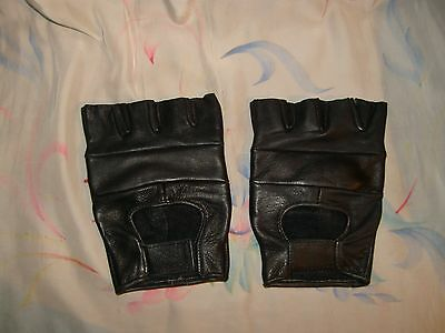 Nwt-Women's Xlarge Black Leather Fingerless Gloves-Comfy-Velcro Closure-
